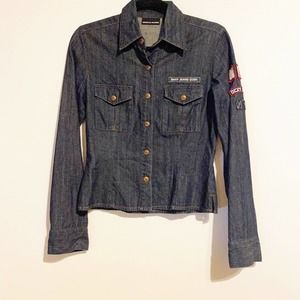 DKNY Jeans Embroidered Shirt Jacket Patches Small